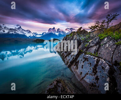 Torres del Paine National Park encompasses mountains, glaciers, lakes, and rivers in southern Chilean Patagonia. - Stock Photo