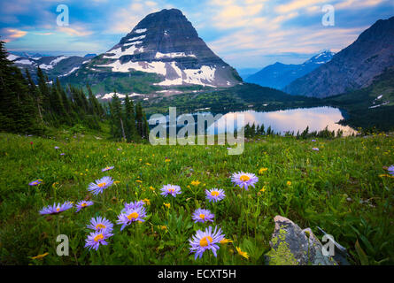 Hidden Lake is located in Glacier National Park, in the U. S. state of Montana. - Stock Photo