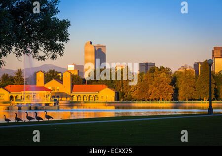 Denver is the largest city and capital of the State of Colorado. It seen here from City Park. - Stock Photo