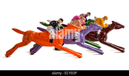 Lead painted horses from a 1920's horse racing game - Stock Photo