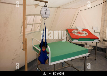 Maternity tent mock-up in emergency supplies warehouse, Deutsches Rotes Kreuz (DRK - German Red Cross) at their - Stock Photo