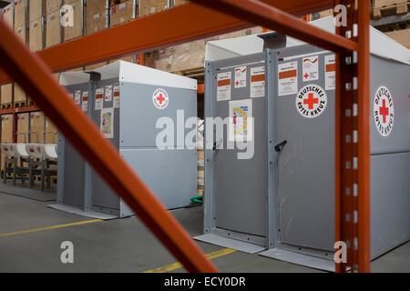 Latrines in emergency supplies warehouse, Deutsches Rotes Kreuz (DRK - German Red Cross) at their logistics centre - Stock Photo