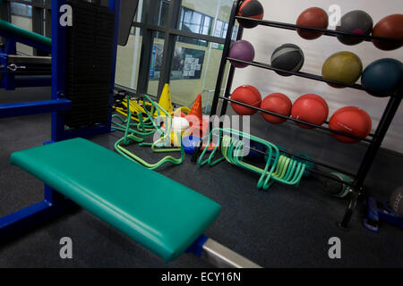 Gym equipment at the Sports Institute, University of Ulster, Northern Ireland. - Stock Photo