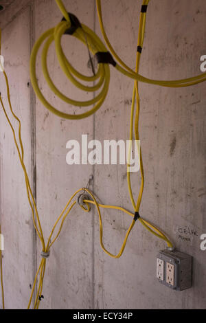 Electrical wires at construction site stock photo royalty for Electrical wiring new construction