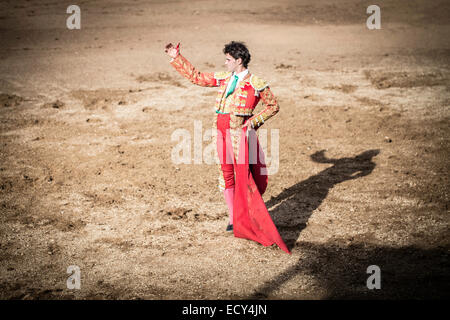 Bullfighter greeting in the bullring, bullfighting, El Barco de Avila, Avila, Spain - Stock Photo