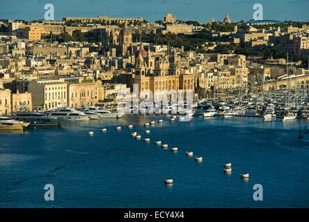 View from Valletta to Vittoriosa Yacht Marina in the Grand Harbour, Vittoriosa, Malta - Stock Photo