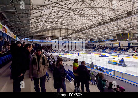 czech ice hockey stadium of HC Kladno domestic arena of Jaromír Jágr during break - Stock Photo