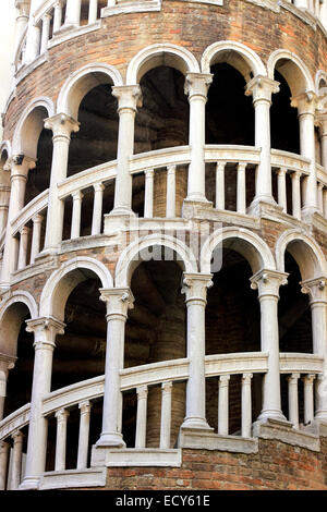 Spiral staircase, Scala Contarini del Bovolo, Venice, Veneto, Italy - Stock Photo