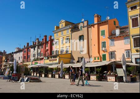 Square in old town, Rovinj, Istria, Croatia - Stock Photo