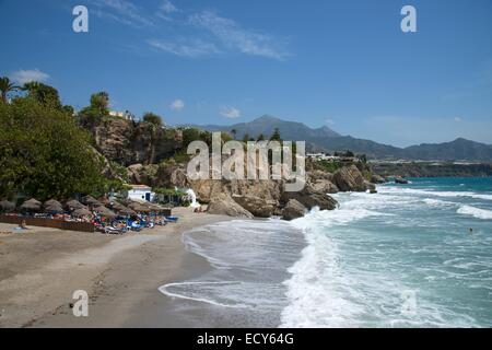 nerja balcon de europa beach town sea spain malaga stock photo royalty free image. Black Bedroom Furniture Sets. Home Design Ideas