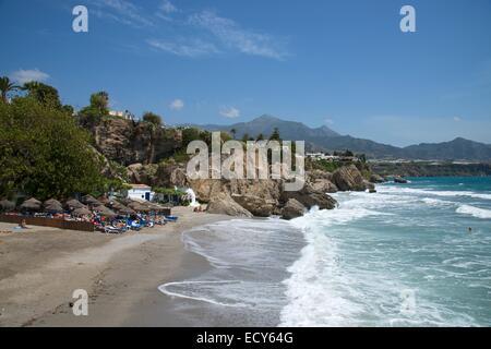 Beach Balcon de Europa, Nerja, Costa del Sol, Andalucia, Spain - Stock Photo