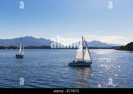 Sailboats on Lake Chiemsee, Chiemgau, Upper Bavaria, Bavaria, Germany - Stock Photo