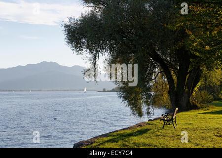 Frauenchiemsee or Fraueninsel island, Lake Chiemsee, Chiemgau, Upper Bavaria, Bavaria, Germany - Stock Photo