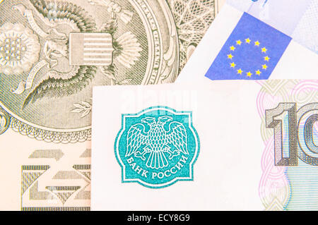 Russian rubles, euros, dollars close-up - Stock Photo