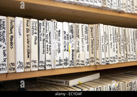 Old recording Sound Archives on tape and disk,  stored in Clitheroe Castle, Lancashire, UK. 22nd December, 2014. - Stock Photo