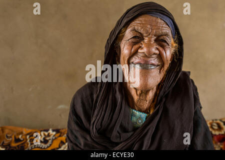 Nubian woman with scars on her face, Sudan - Stock Photo