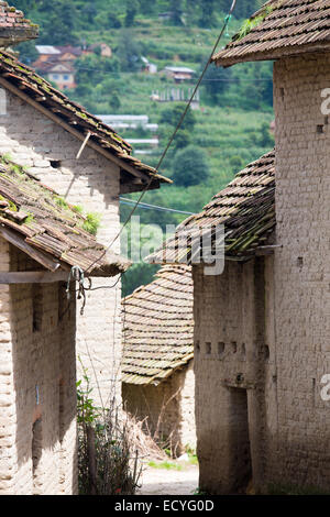 Traditional architecture in Kathmandu Valley, Nepal - Stock Photo
