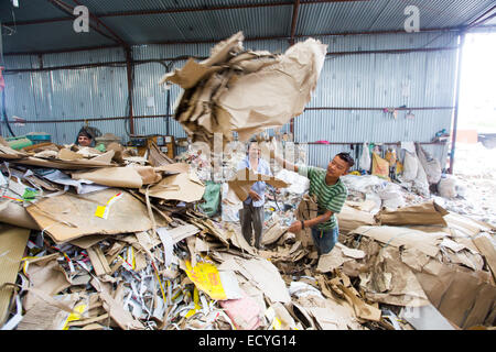 Processing recycled waste in Kathmandu, Nepal - Stock Photo