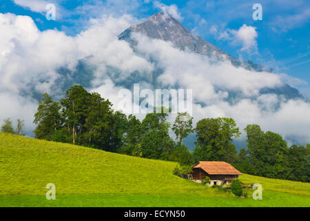Swiss House in Idyllic summer landscape with mountain on background , Switzerland Interlaken - Lauterbrunnen - Stock Photo