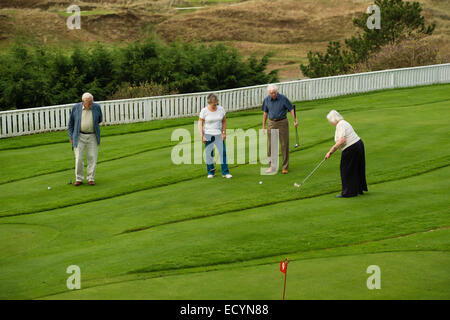 A group of 4 four seniors, retired couples, pensioners, on holiday vacation playing miniature golf, UK - Stock Photo