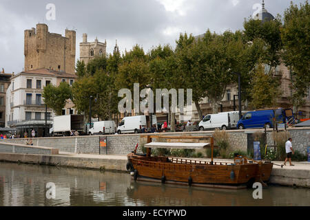 Canal of the Robine (canal de la Robine) at Narbonne, town located in the Aude department in France. The La Nouvelle - Stock Photo