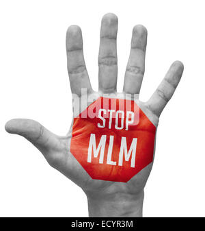 Stop MLM on Open Hand. - Stock Photo