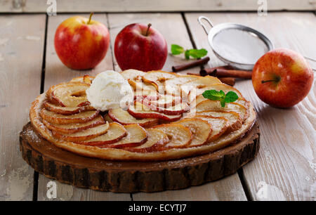 Home baked pie with a golden puff pastry crust baked in ...