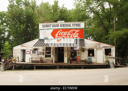 Rabbit Hash General Store with large Coca-Cola sign. Rabbit Hash, Kentucky, USA. Circa 1813. A historic small town - Stock Photo