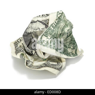 wadded dollar bill photographed on a white background - Stock Photo