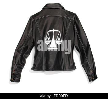 Libra zodiac black leather jacket photographed on a white background. - Stock Photo