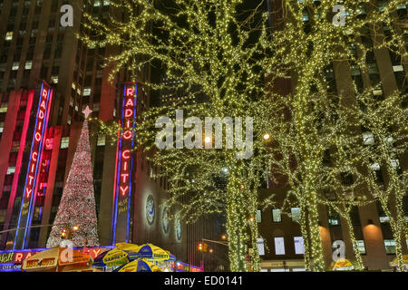 Christmas decorations at Radio City Music Hall December 15, 2014 in New York City, NY. - Stock Photo