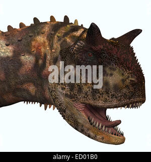 Carnotaurus was a theropod carnivorous dinosaur that lived in Argentina in the Cretaceous Period. - Stock Photo
