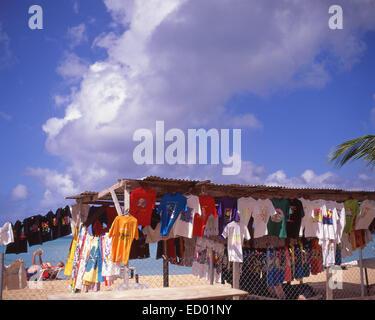Beach clothing stall, Jolly Beach Resort & Spa, Saint Mary's Parish, Antigua, Antigua and Barbuda, Lesser Antilles, - Stock Photo
