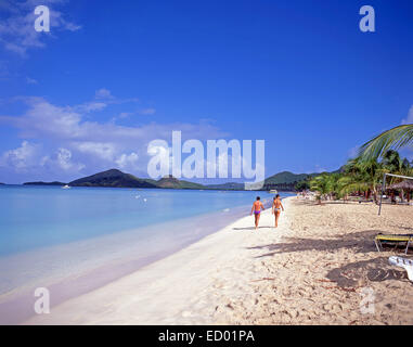 Beach view, Jolly Beach Resort & Spa, Saint Mary's Parish, Antigua, Antigua and Barbuda, Lesser Antilles, Caribbean - Stock Photo