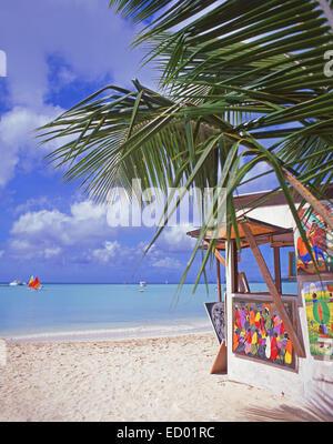 Beach art stall, Jolly Beach Resort, Saint Mary's Parish, Antigua, Antigua and Barbuda, Lesser Antilles, Caribbean - Stock Photo