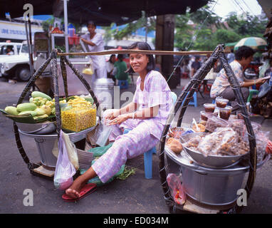 Woman selling fruits, Bình Tây Market, Cholon, District 6, Ho Chi Minh City (Saigon), Socialist Republic of Vietnam - Stock Photo