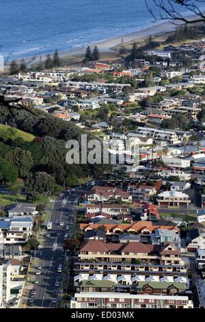 Aerial view of Mount Maunganui suburbia - Stock Photo