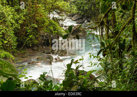 The cerulean blue waters of the Rio Celeste in the rainforest in Volcan Tenorio National Park, Costa Rica. - Stock Photo