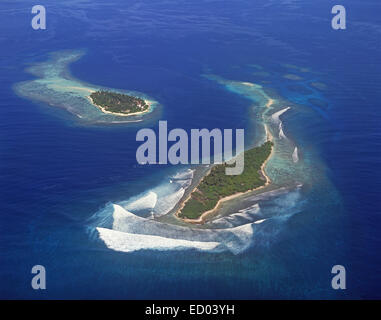 Aerial view of Islands, Kaafu Atoll, Republic of Maldives - Stock Photo