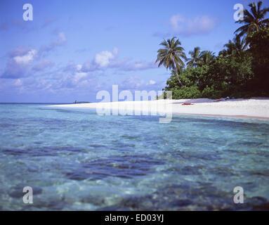 Tropical beach view, Kuda Bandos, Bandos Island, Kaafu Atoll, Republic of Maldives - Stock Photo