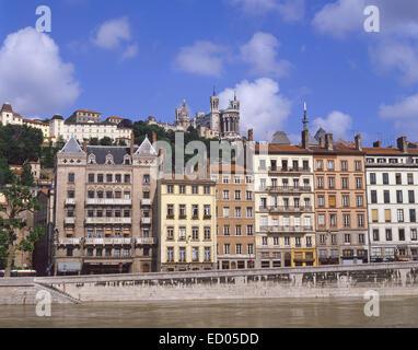 Basilica of Notre-Dame de Fourvière from River Saône, Lyon, Rhône-Alpes Region, Rhône, France - Stock Photo