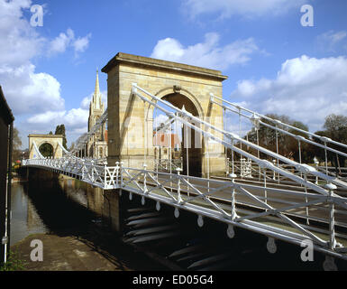 Marlow Suspension Bridge showing All Saints Church, Marlow, Buckinghamshire, England, United Kingdom - Stock Photo