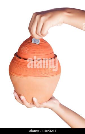 1 Lady hand saving money Piggy Bank part of - Stock Photo