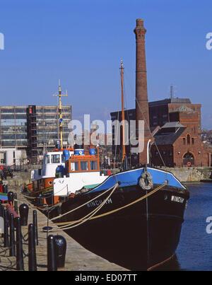 Boats berthed in Albert Docks, Liverpool, Merseyside, England, United Kingdom - Stock Photo