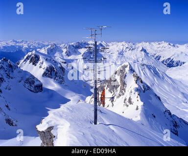 Communication tower satellite dishes, masts and aerials from Valluga Station, St.Anton (Sankt Anton am Arlberg), - Stock Photo