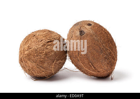 Image of two coconuts  isolated on white background. - Stock Photo