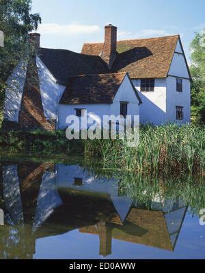 Wlly Lott's Cottage, Flatford Mill, East Bergholt, Suffolk, England, United Kingdom - Stock Photo