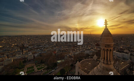 France, Paris, Montparnasse, View from top of Sacre Coeur - Stock Photo