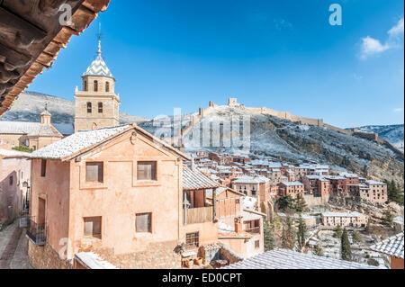Spain, Aragon, Teruel Province, Albarracin, Medieval walled town - Stock Photo