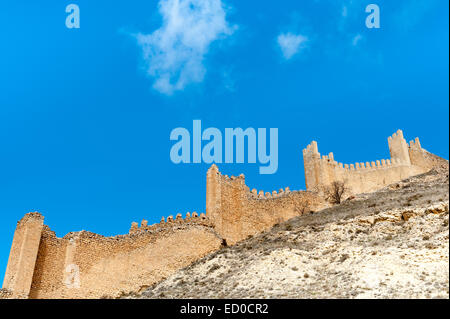 Spain, Aragon, Teruel Province, Albarracin, Fortified wall against blue sky - Stock Photo